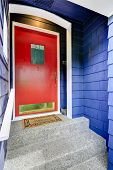 Entrance Porch With Bright Red Door