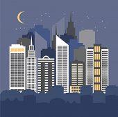 Vector Illustration Of A City At Night.