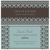Baroque invitation, brown and blue