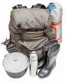 Expedition Equipment Isolated On White Background