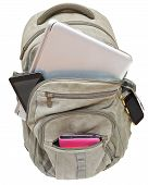 Tourist Backpack With Mobile Devices Isolated
