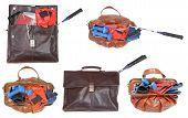 Male And Female Bags With Sport Items