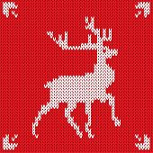 Christmas Knitted background with deer. Vector