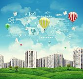 High-rise buildings over green hills, few air baloons above. Charts, diagrams and other virtual item