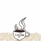 Coffee beans and cup with aroma steam card design