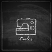 vintage illustration with sewing machine sign on blackboard background.
