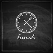 vintage illustration with clock and cutlery on blackboard background. lunch time concept