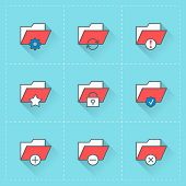 Folder Icons. Vector Icon Set In Flat Design Style. For Web Site Design And Mobile Apps