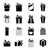 Set of 16 gift icons