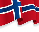 Background with waving Norwegian Flag. Vector