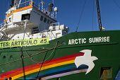 VALENCIA, SPAIN - DECEMBER 5, 2014: Greenpeace's vessel the