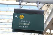 Ticketing sign at airport