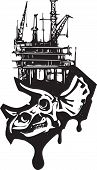 foto of dinosaur skeleton  - Woodcut style image of a fossil of a Triceratops dinosaur skull with an oil rig - JPG