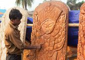 Wood Made Goddess Durga, Indian Handicrafts Fair