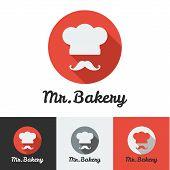Vector flat bakery or restaurant minimalistic logo