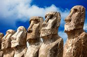 Five Moai Heads In Bright Sunshine In Easter Island