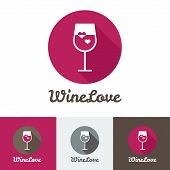 Vector modern flat wine shop, restaurant or bar logo