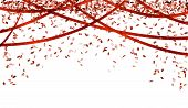 foto of oval  - falling oval confetti and ribbons with red color - JPG