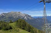 The Cable Car In The Alps In Summer.