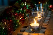 Christmas background tea candles
