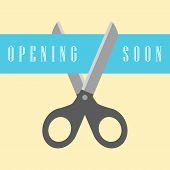 open concept, scissors cut the ribbon