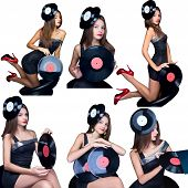 collage girl with vinyl disk isolated on white