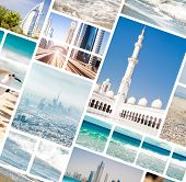 Collage of photos from Dubai and Abu Dhabi. UAE