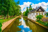 Strasbourg, Water Canal In Petite France Area, Unesco Site. Alsace.