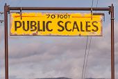 Public Scales Sign Vintage Agriculture Area Clearing Storm