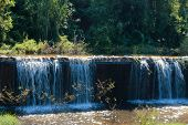 picture of dike  - water fall from the weir dike dam - JPG