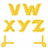 Yellow knitted alphabet V Z