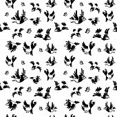 Black cartoon crows Set