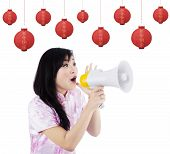 Woman Announcing Chinese New Year