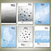 Drops in water, molecule structure. Brochure, flyer or report for business, template vector