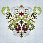 Floral Symmetrically Element With Lacy Leaves