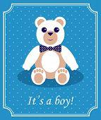 Baby Boy Arrival Card with Bear