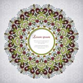 Round Vector Frame With Floral Ornament