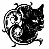 Black Cat With Floral Decoration