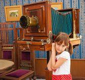 Child about retro camera