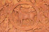 stock photo of chinese zodiac animals  - Wood carving of goat Chinese zodiac animal sign - JPG