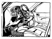 foto of interior sketch  - Vector illustration of a sport car interior stylized as engraving - JPG