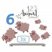 Children alphabet of animals and figures. Number six. Vector illustration.