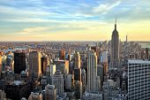 image of empire state building  - New York City Midtown With Empire State Building At Sunset - JPG