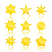 pic of pentacle  - Vector set of star icons  with reflection isolated on white background - JPG