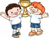 kids with sports cup
