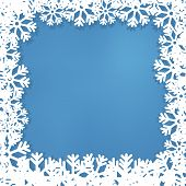 New Year's Frame From Snowflakes, On A Blue Background.