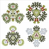 Vector Set Of Four Floral Elements Isolated On White