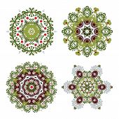 Vector Set Of Four Floral Circular Design Elements Isolated On White Background