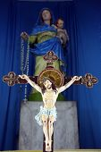 KOLKATA, INDIA - FEBRUARY 10, 2014: Crucifixion, Cathedral of the Holy Rosary, commonly known as the Portuguese Church, in Kolkata. It is also known as the known as the Murgihata Church