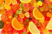Background of colorful fruity candies and jujube closeup